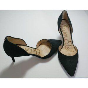 SAM EDELMAN black suede pointed toe heels